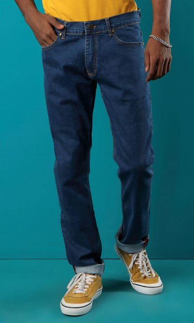 12193 Basic Solid Slim Fit Jeans - Blue Jeans