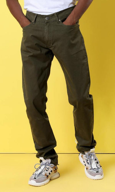 12206 Slim Fit Basic Denim Army Green Pants