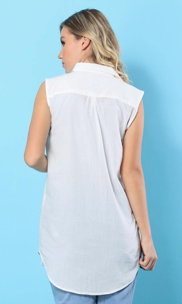 White Cotton Sleeveless Blouse