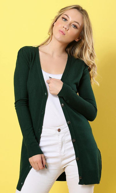 Women Dark Green Pullover Cardigan