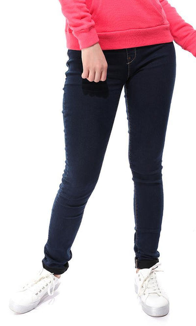 12622 Casual Solid Skinny Dark Blue Jeans