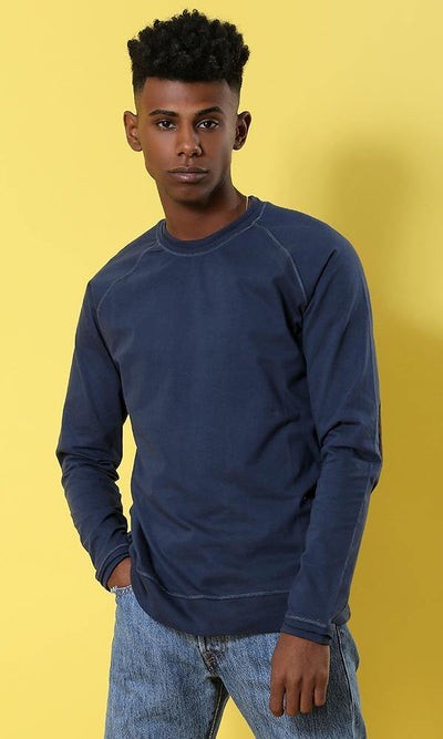 Solid Navy Blue Patch Sleeves T-shirt