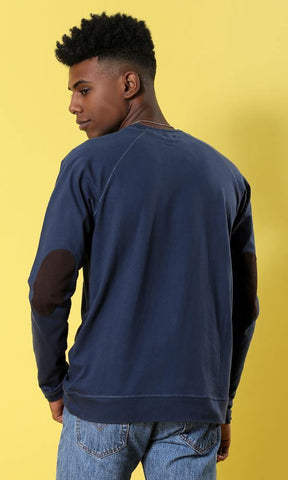 12755 Basic Navy Blue Patch Sleeves T-shirt
