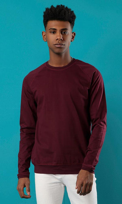 12756 Elbow Patched Burgundy Sweatshirt With Hem