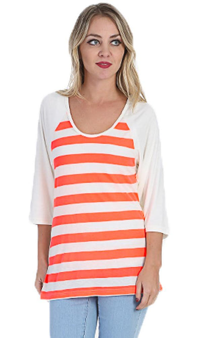 Open Back Top - Neon Orange & Off White