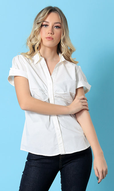 17353 Deep V-Neck Short Sleeves Shirt - Off White
