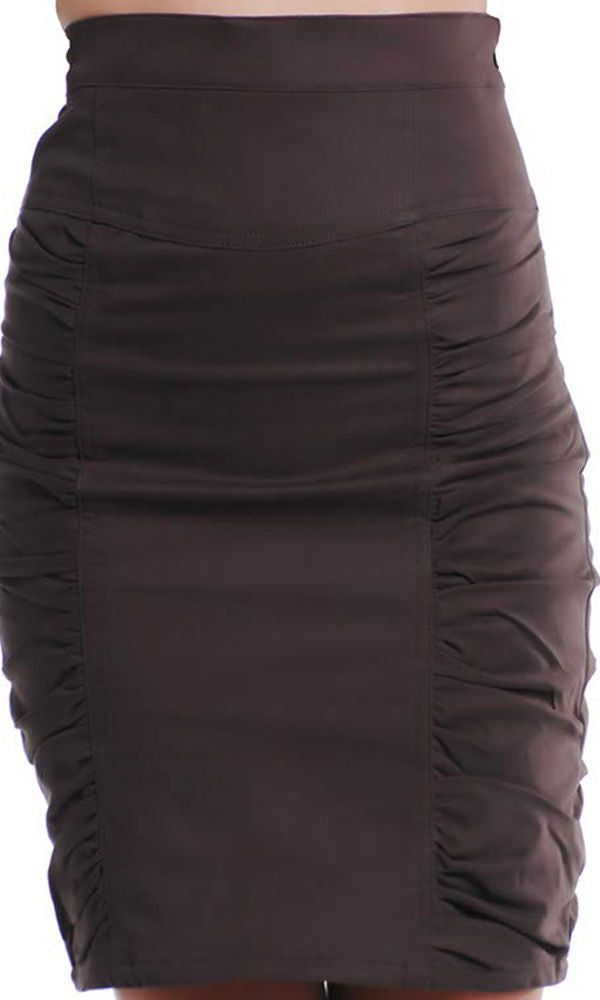 Women Brown Cotton & Polyester Pencil Skirt