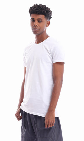 21212 Basic Cotton White Casual T-shirt