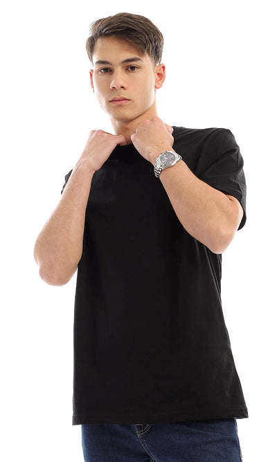 21213 Basic Solid Short Sleeves Black T-shirt