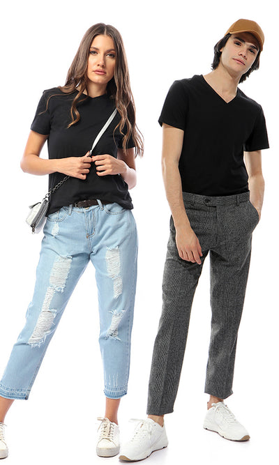 21219 Black V-Neck Slip On Comfy Tee