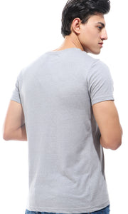 21220 Heather Dark Grey V-Neck Basic T-shirt