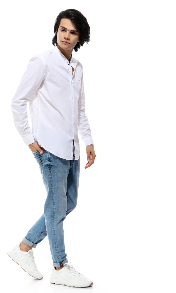 Decorated Pocket Long Sleeves Off-White Shirt