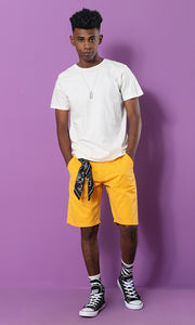 27113 Yellow Orange Basic Regular Fit Short