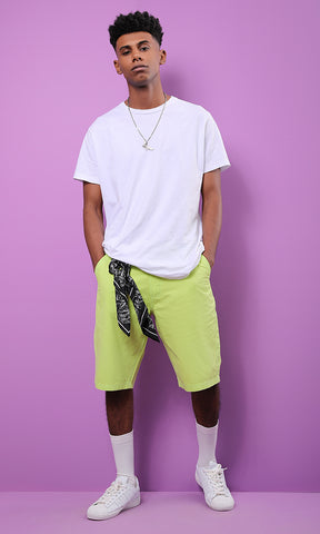 Lime Green Modern Fit Solid Short