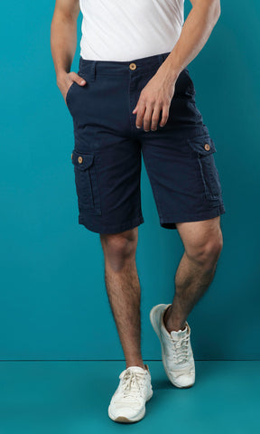 27117 Casual Side Pockets Comfy Short - Dark Navy Blue