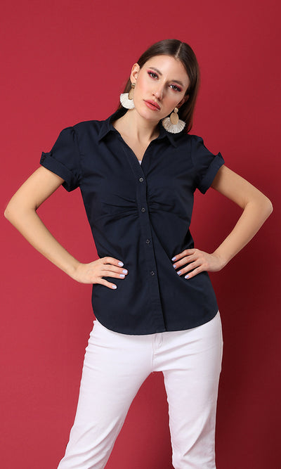 27140 Solid Short Navy Blue Basic Shirt