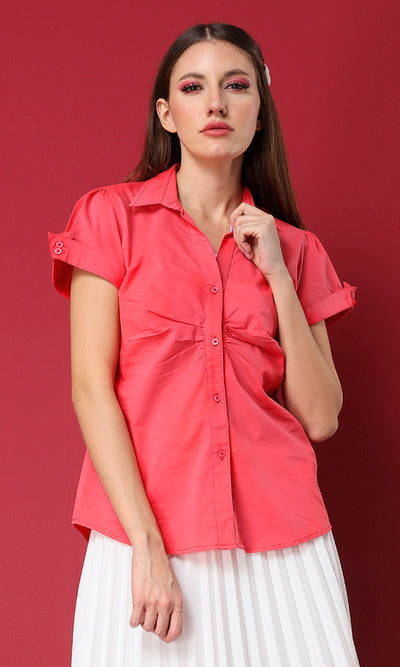 27141 Buttoned Short Sleeves Coral Basic Shirt