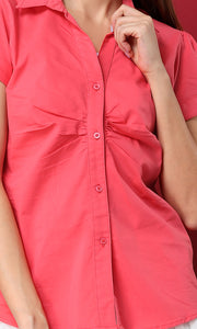 27141 Buttoned Short Sleves Coral Shiral Shirt