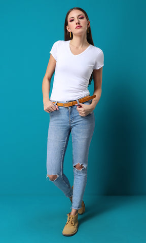 27148 Basic Soft Slip On White T-shirt