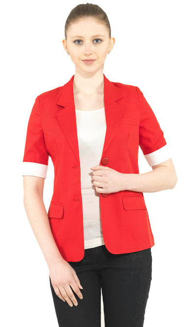 27395 Plain Blazer - Red