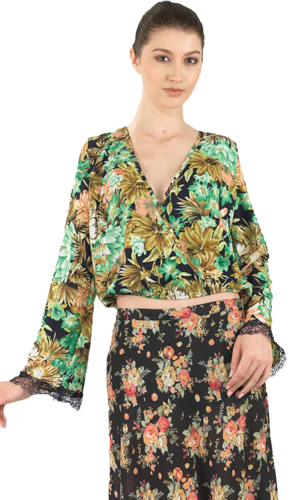 Overlapped Floral Blouse - Green