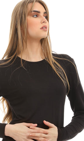 27920 Basic Solid Black Long Sleeves Top