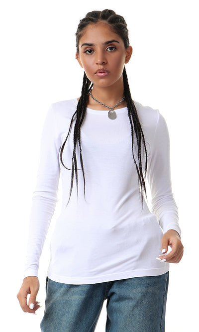 Basic Full Sleeves T-Shirt - White - women t-shirts