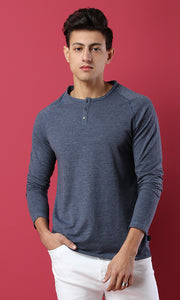 28010 Basic Heather Navy Blue Long Sleeves Hanely Shirt