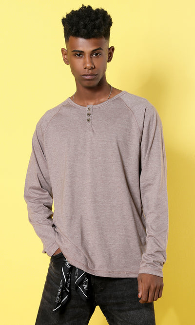 Men's Long Sleeves Buttoned T-shirt - Coffee
