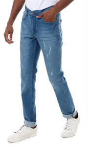 28211 Zipped Solid Jeans Pants - Light Blue