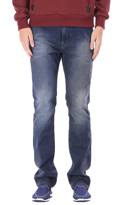 28212 Zipped Casual Straight Jeans Pants - Blue