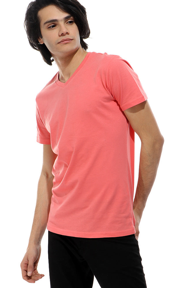28288 V-Neck Solid Coral Basic T-shirt