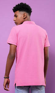 28290 Basic Turn Down Collar Pink Pique Polo Shirt