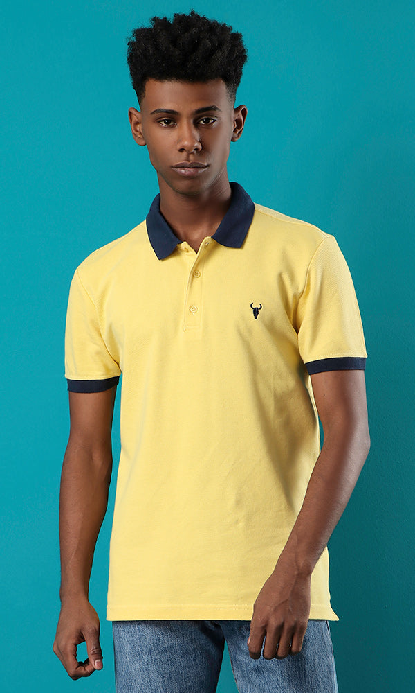 Plain Piqué Polo Shirt - Yellow