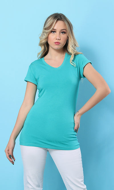28529 Blue Green V-Neck Soft Slip On Basic T-Shirt