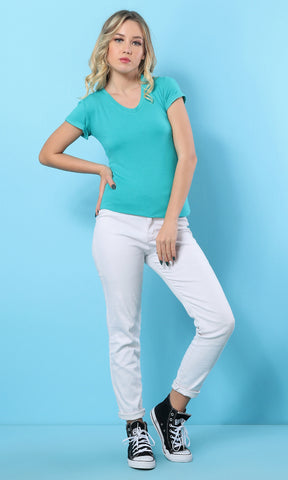 Blue Green V-Neck Soft Slip On T-Shirt - women t-shirts