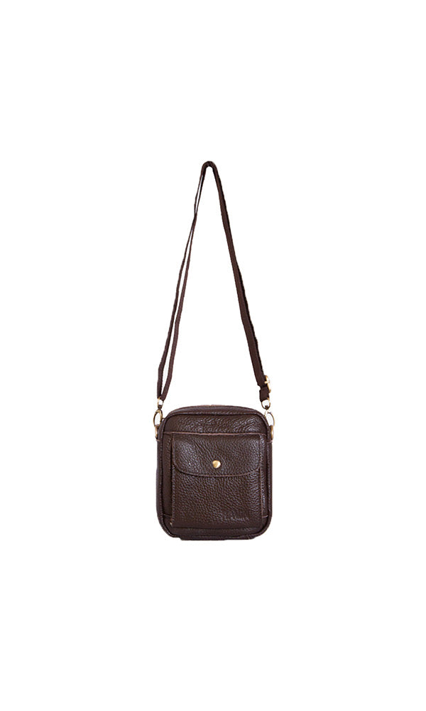 Front Pocket Cross Body Bag - Brown