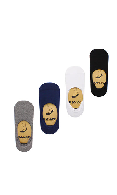 30891 Set Of 4 Invisible Socks - Black, White, Grey & Navy Blue