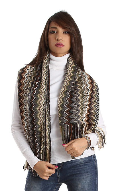 31094 Colorful Zigzag Scarf - Beige, Off White, Brown & Olive