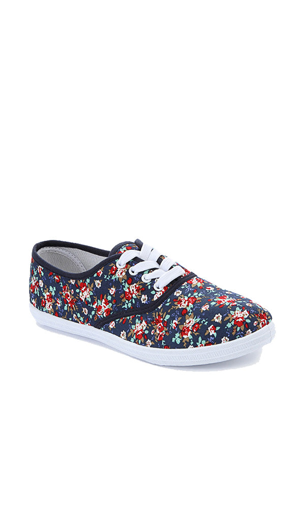 Floral Sneakers - Navy Blue