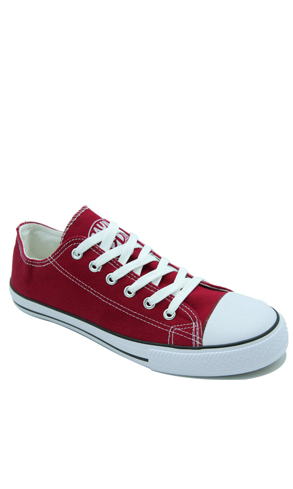 Solid Canvas Sneakers - Burgundy