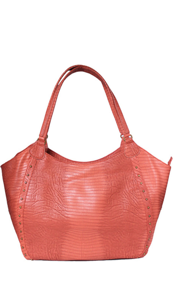 studded hobo bag - burst orange