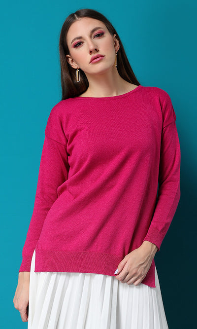 32001 Hi-Low Crew Neck Fuchsia Basic Pullover