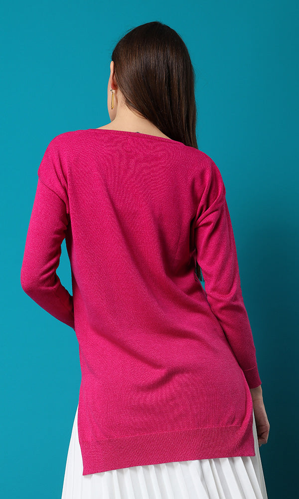 basic sweater-side split hem-round neck