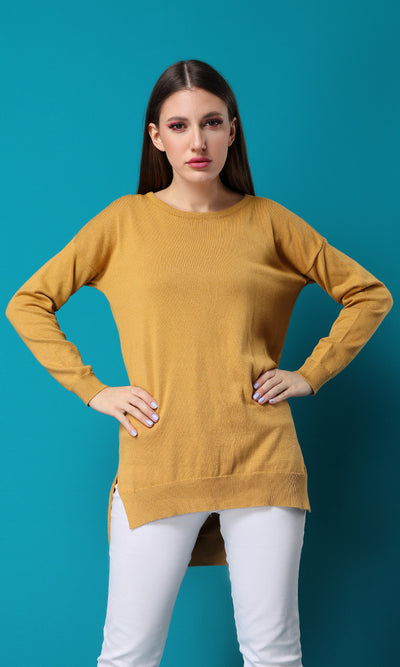32005 Crew Neck Hi-Low Dark Mustard Basic Pullover
