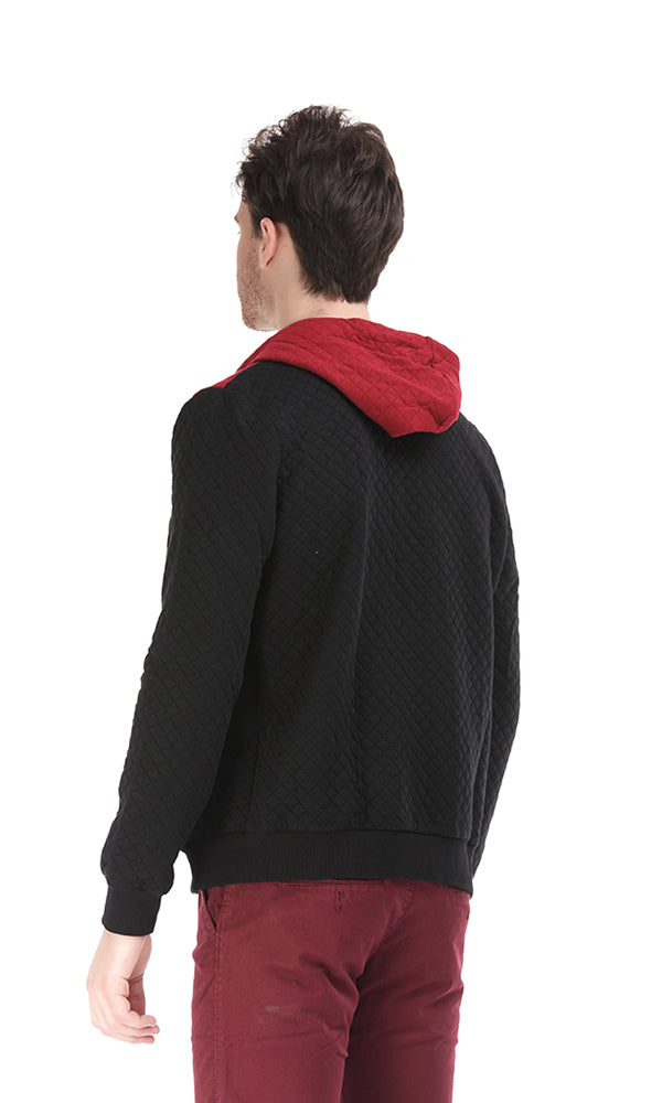 Quited Hoodie Sweatshirt-Color-Block-Zip-Up Front-Hand-Warmer Pockets