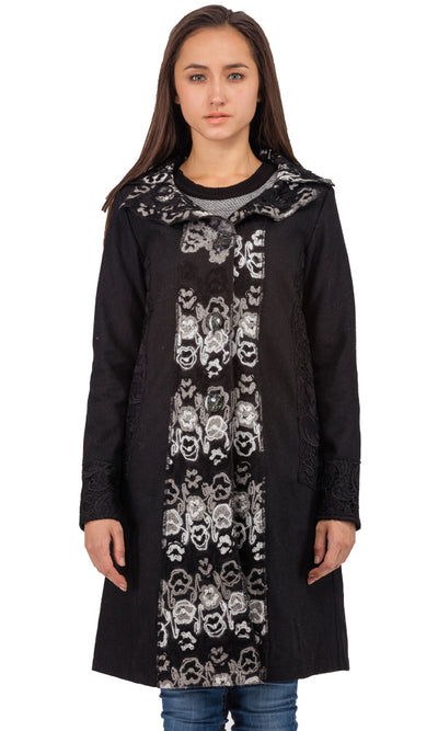 32186 Printed A-Line Coat - Black