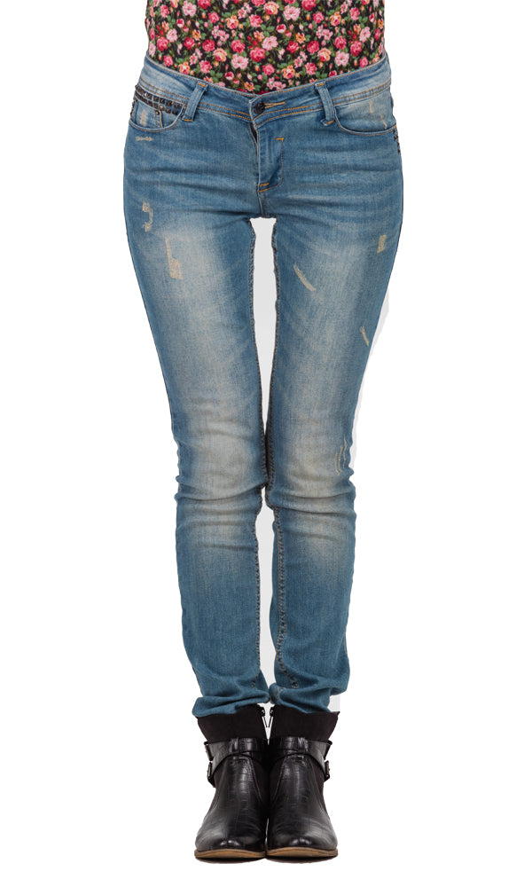Skinny Fit Denim Trouser-Studded Pocket