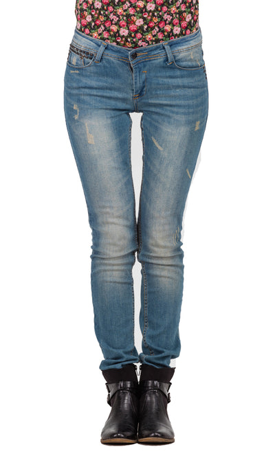 32207 Slim Fit Washed Out Jeans - Sky Blue