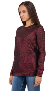 32210 Metallic Sweater - Burgundy